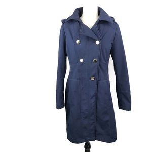 GUESS Navy Hooded Fleece Double Breasted Jacket
